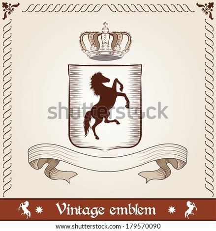 Vintage emblem with horse - stock vector