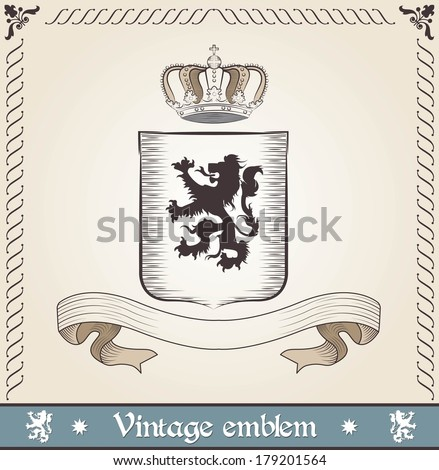 Vintage emblem with lion - stock vector
