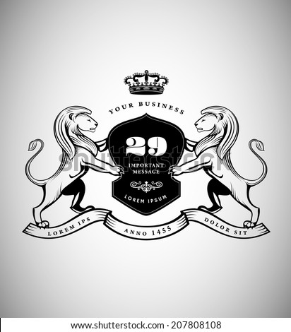 Vintage Emblem with Lions. Heraldic Logo Design - stock vector