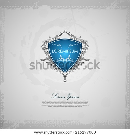 Vintage emblem with shield and grunge frame. Abstract background - stock vector