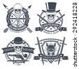 Vintage emblem with skull, well suited as tattoos, t-shirt. Text is easy to change for your own. Skull, dagger, pistol, hat, chain ghost, arrow, anchor, pipe, sword, shield, knight's helmet. - stock vector