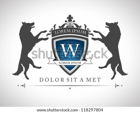 Vintage emblem with wolfs , with a place for Your text - stock vector