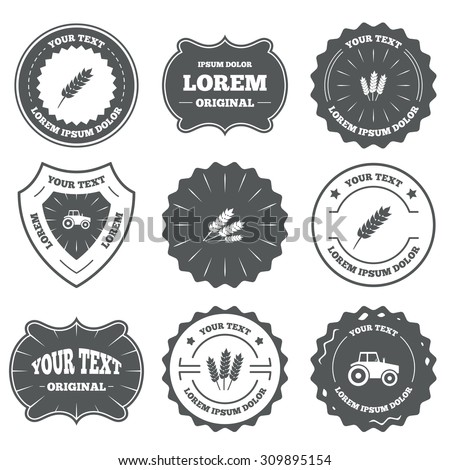 Vintage emblems, labels. Agricultural icons. Wheat corn or Gluten free signs symbols. Tractor machinery. Design elements. Vector - stock vector