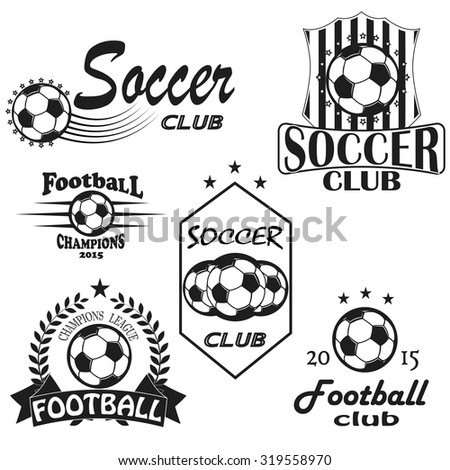 Vintage emblems, labels. Football icons. Soccer ball sport sign.