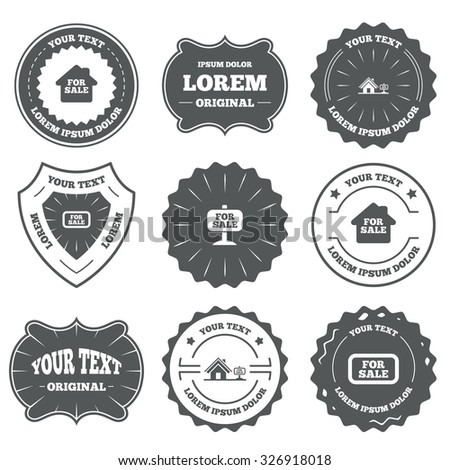 Vintage emblems, labels. For sale icons. Real estate selling signs. Home house symbol. Design elements. Vector - stock vector