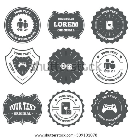Vintage emblems, labels. Gamer icons. Board games players signs. Video game joystick symbol. Casino playing card. Design elements. Vector - stock vector