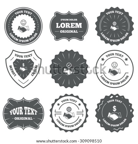 Vintage emblems, labels. Handshake icons. World, Smile happy face and house building symbol. Dollar cash money. Amicable agreement. Design elements. Vector - stock vector