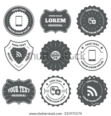 Vintage emblems, labels. Question answer icon.  Smartphone and Q&A chat speech bubble symbols. RSS feed and internet globe signs. Communication Design elements. Vector - stock vector