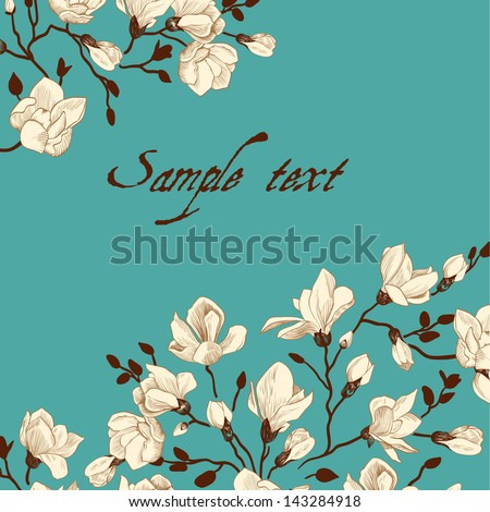 Vintage emerald card with a magnolia - stock vector