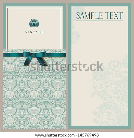 Vintage emerald invitation. Set - stock vector