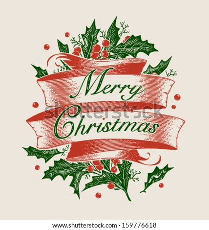 Vintage engraving christmas art. Greeting card \ poster \ banner. Vector illustration. - stock vector