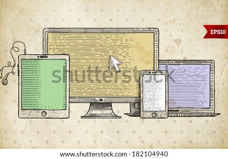 Vintage Engraving Style Icons. Mobile Phone, Tablet PC. Responsive Web Design. Retro Art. - stock vector