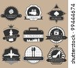 Vintage entertainment labels silhouette set - stock vector
