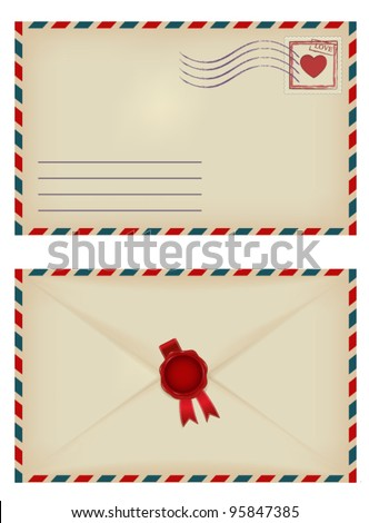 vintage envelope with heart stamp and wax seal - stock vector