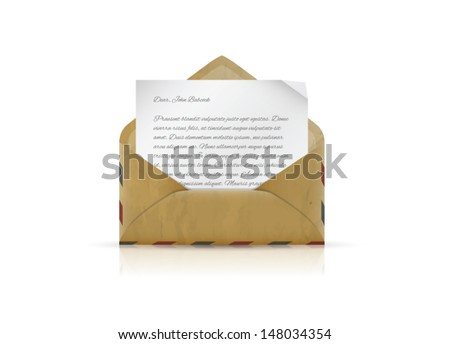 Vintage envelope with paper and text vector - stock vector