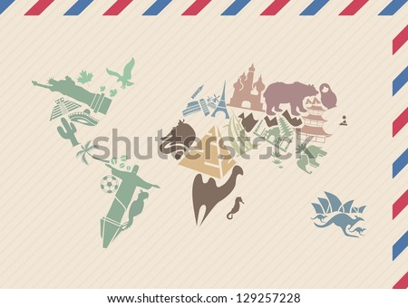 Vintage envelope with world map made of landmarks | International airmail envelope with world map picture - stock vector