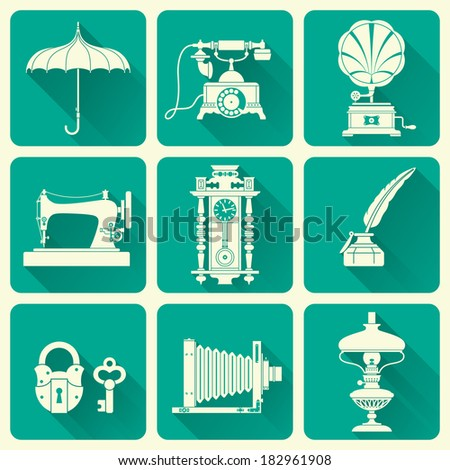 Vintage Ephemera And Objects Of Old Era Icons - stock vector