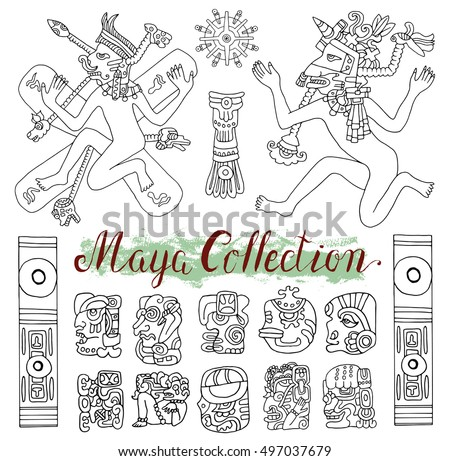 Vintage Ethnic Set Ancient Maya Symbols Stock Vector Hd Royalty