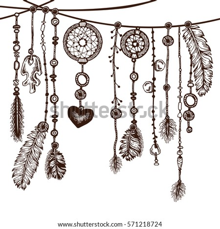 Tribal Theme Background Hand Drawn Feathers Stock Vector ...