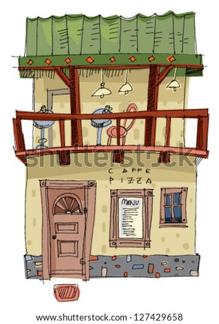 vintage facades of old city - cartoon