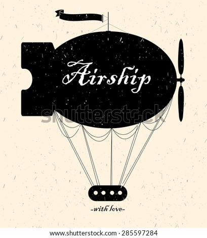 Vintage fairy airship. Vector silhouette - stock vector