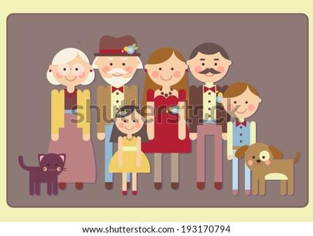 Vintage family portrait - stock vector