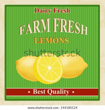 Vintage farm fresh organic lemons poster, vector illustration - stock vector