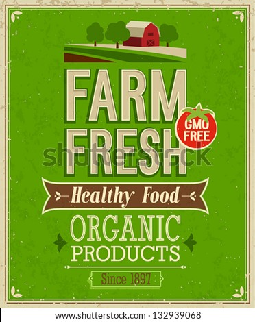 Vintage Farm Fresh Poster. Vector illustration. - stock vector