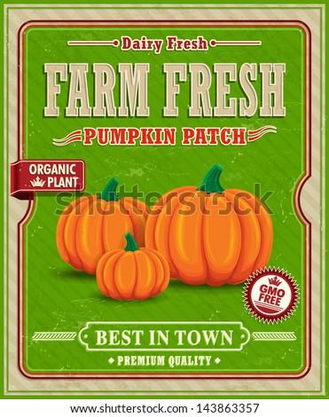 Vintage farm fresh pumpkin patch poster design