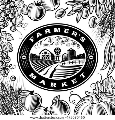 Vintage Farmers Market Label Black And White. Editable vector illustration in retro woodcut style with clipping mask.