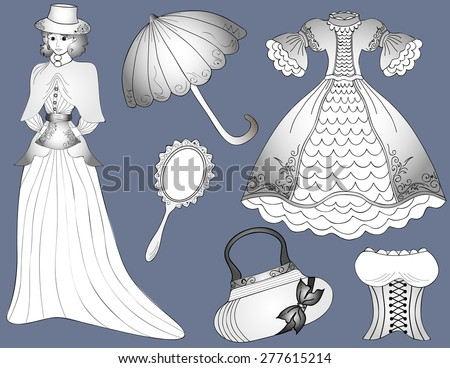 Vintage fashion set Woman in dress with umbrella and handbag. Vector - stock vector