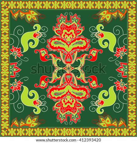 Vintage fashion. Tribal art ethnic seamless pattern. Boho print.  Floral bandanna ethno ornament. Square pattern design. Cloth design, wallpaper, wrapping, silk, scarf, sarong. Vector illustration. - stock vector