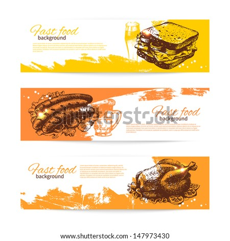 Vintage fast food banners. Background with hand drawn illustrations. Menu design  - stock vector