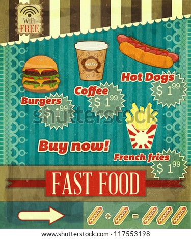 Vintage Fast Food Menu - the food on  grunge background with labels for price - vector illustration