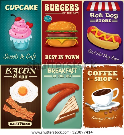 Vintage fast food poster design set with coffee, cupcake, burger, hot dog, bacon and egg - stock vector