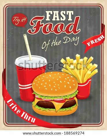 Vintage fast food poster design with burgers, fries & drink - stock vector