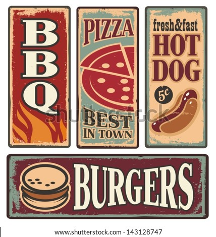 Vintage fast food tin signs. Retro ads collection with pizza, burger, hot dog and barbecue. Delicious snacks backgrounds and poster design templates.