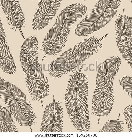 Vintage Feather seamless background.  Many similarities to the author's profile - stock vector