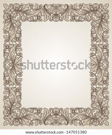 Vintage filigree frame with floral patterns - stock vector