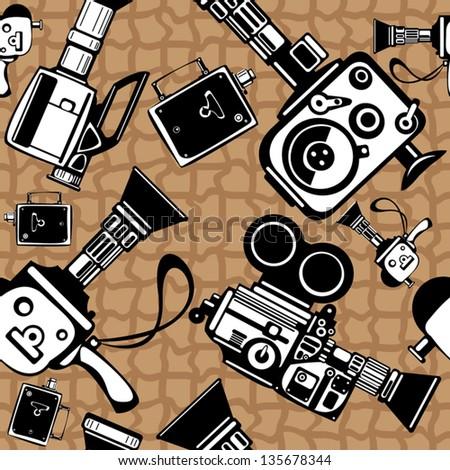 vintage film cameras vector seamless pattern - stock vector