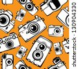 vintage film photo cameras vector seamless pattern - stock vector