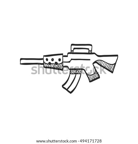 Vintage firearm icon in doodle sketch lines. World war army hand gun.