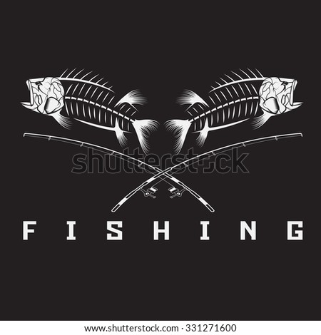 vintage fishing emblem with skeleton of bass - stock vector