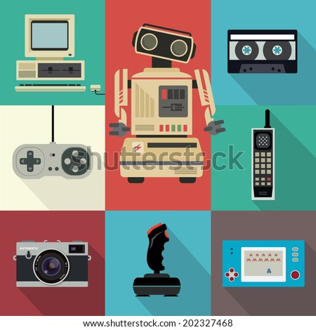 Vintage flat electronic items - stock vector