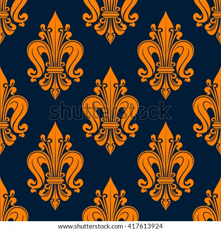 Vintage fleur-de-lis pattern with seamless orange floral compositions of french heraldic lilies adorned by swirls and tendrils over navy blue background. Great for wallpaper or interior textile design - stock vector