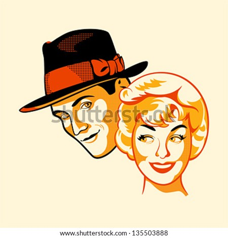 Vintage flirting couple in three color print halftone pattern - stock vector