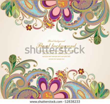 vintage floral  background - stock vector