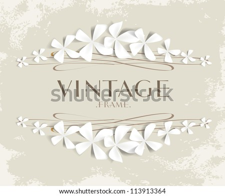 Vintage floral background. Beautiful frame with flowers. - stock vector