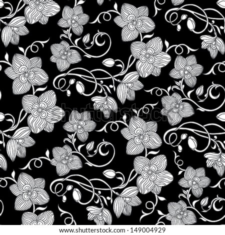 Vintage Floral Background Black And White Seamless Pattern Floor Tiles Flower Ornament