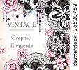 vintage floral background design - stock vector